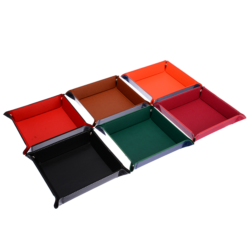 New Arrivals PU Leather Folding Square Dice Tray Purple Dice Box For RPG DnD Games Dice Storage