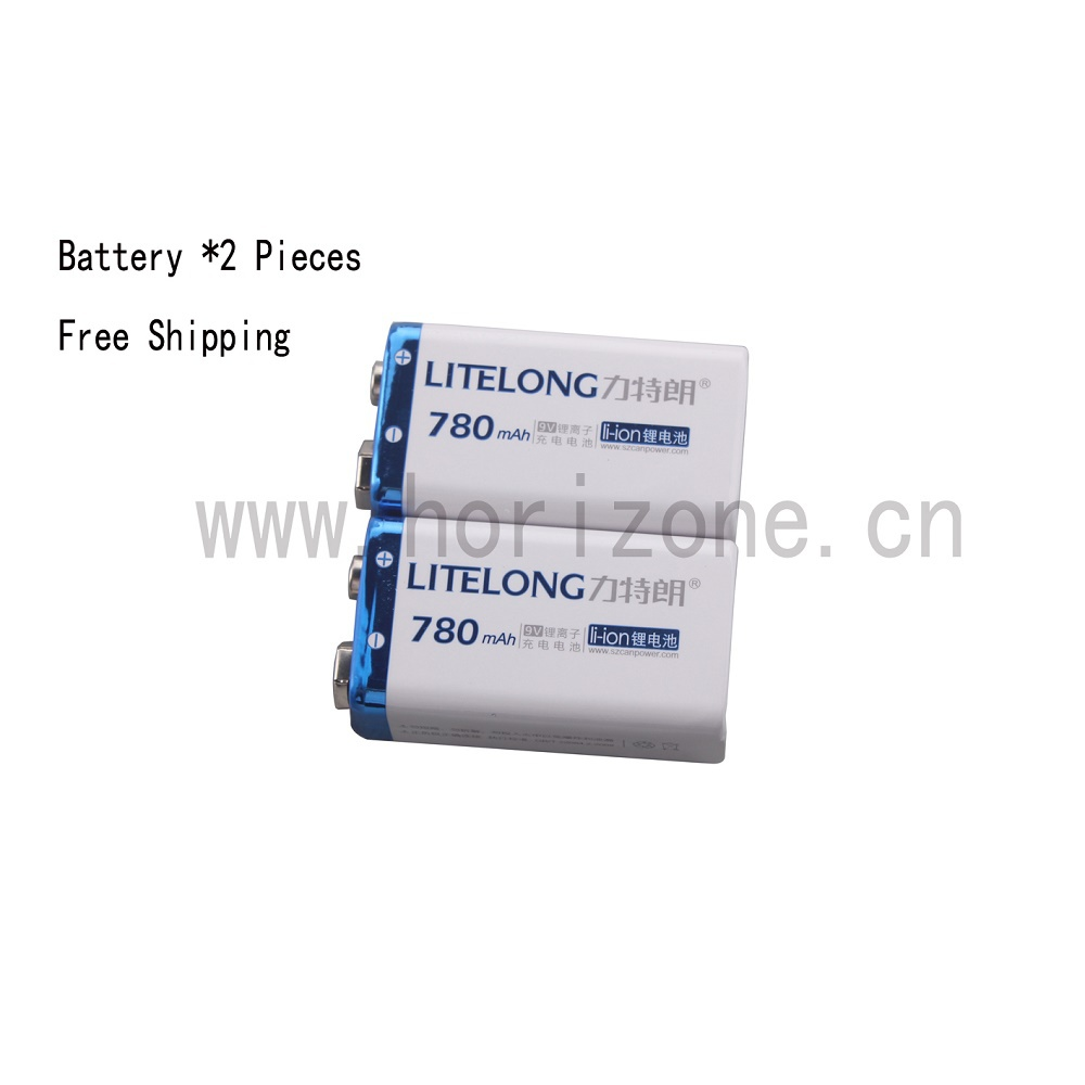 2PCS Free Shipping  9V Li-ion 780mAh  Microphones Battery Pile  PP3 6LR61 6LR21 MN1604 6LF22 2pcs lot free shipping batterie 9v li ion 780mah rechargeable accu battery microphone pile accus lithium ion pp3