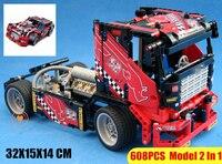 New Transformable 2IN1 Race Truck car fit legoings technic city racing Car Model Building Block bricks DIY Toys kid gift boys