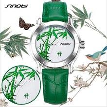 Estilo Chino de Bambú Verde de La Manera Mujeres Del Reloj de SINOBI Relojes Correa de Cuero Señoras Reloj de Cuarzo Resistente Al Agua Reloj de Hora Del Reloj