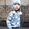 Nuevos 2016 niños Choses rebeca de las muchachas del resorte Kikikikds niños Sweaters tejidos nubes suéteres bebé ropa niñas suéteres