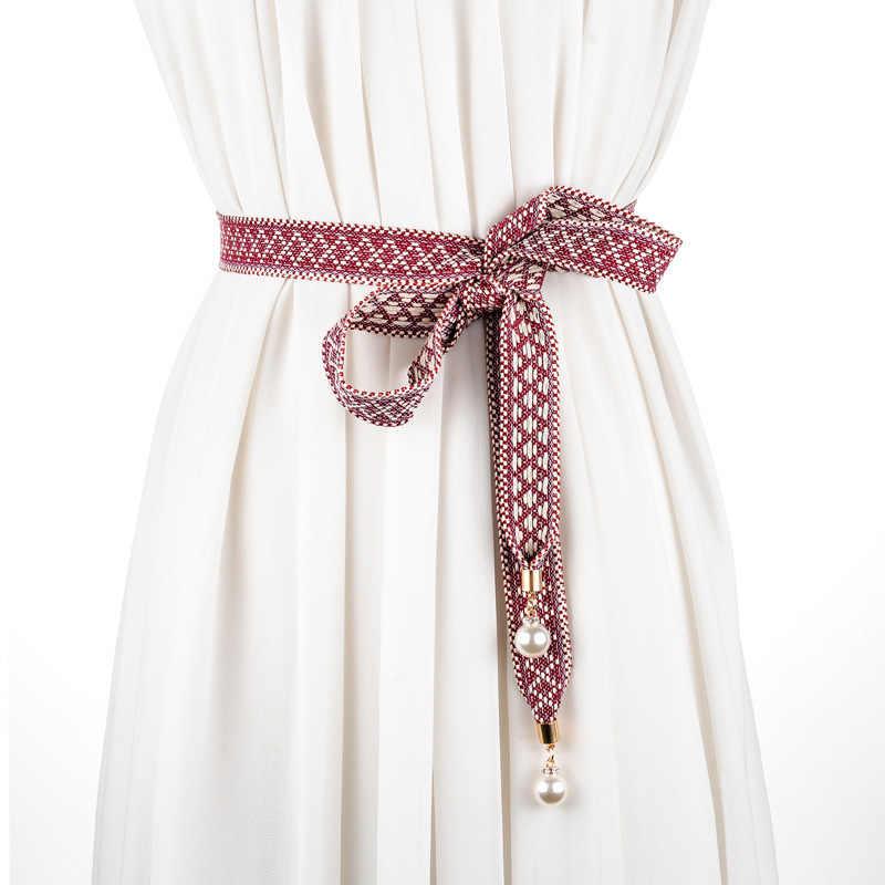 Модные длинные черные тканевые пояса для женщин платья Женские однотонные шелковый шарф рубашка Подвеска для ордена узел талии веревка женский SS16