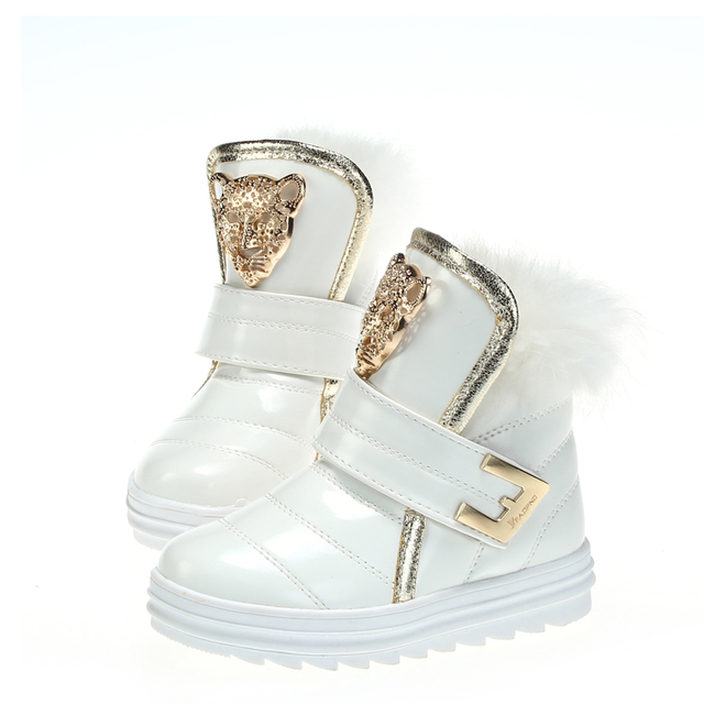 2016 Winter Warm Kids Sneakers Gold Pattern Decorated Boys Girls Boots Fur Thicken Solid Color Children Shoes Size 27-36