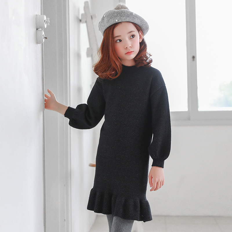 2018 Top Fashion Limited Best Winter Cotton Dress Kids Dresses For Girls Trumpet Style Clothes Flare Sleeve Princess Girl Party trumpet sleeve knot hem crop top