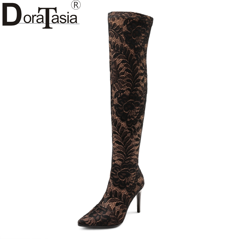 DoraTasia brand design plus size 34-43 lace upper pointed toe women shoes sexy thin high heels over the knee boots party shoes doratasia embroidery big size 33 43 pointed toe women shoes woman sexy thin high heels brand pumps party nightclub