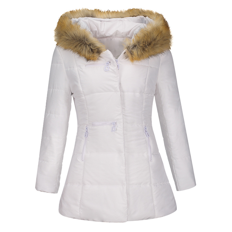 Gothic Winter Women Fake Fur Collar Long   Parkas   zipper Warm Outerwear Down Jacket coat solid Winter Black Goth Female Coat 2018