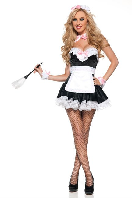 Free Shipping 8595 Y French Maid Waitress Servant Costume Bedroom Outfit Fancy Dress S M L Xl 2xl
