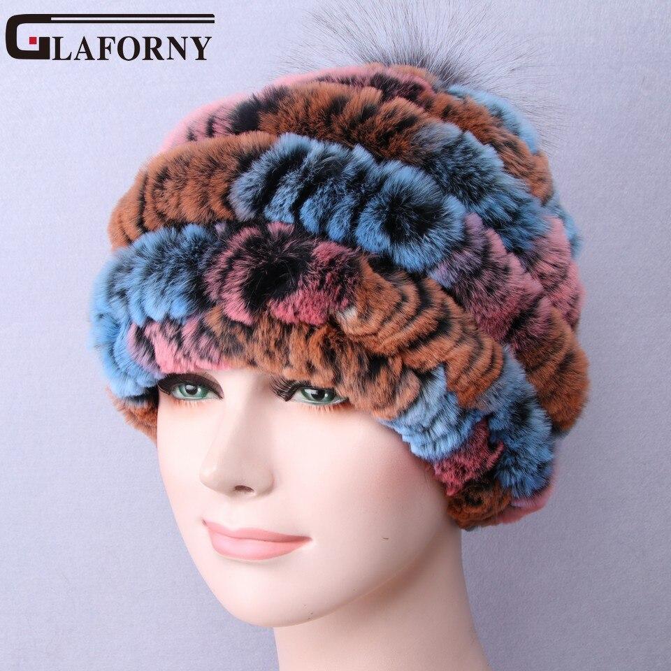 Glaforny 2017 Newest Women's Fashion Real Knitted Rex Rabbit Fur Hats Lady Winter Warm Beanies Caps Female Headgear Fox Balls