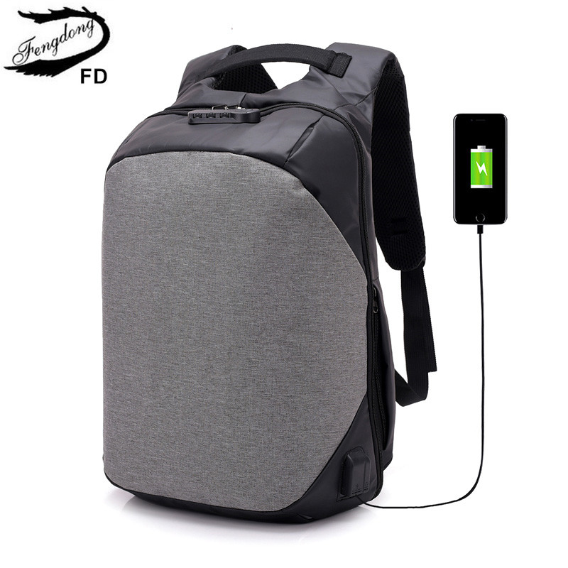 FengDong waterproof anti theft backpack usb bag pack male laptop backpack men bagpack sc ...