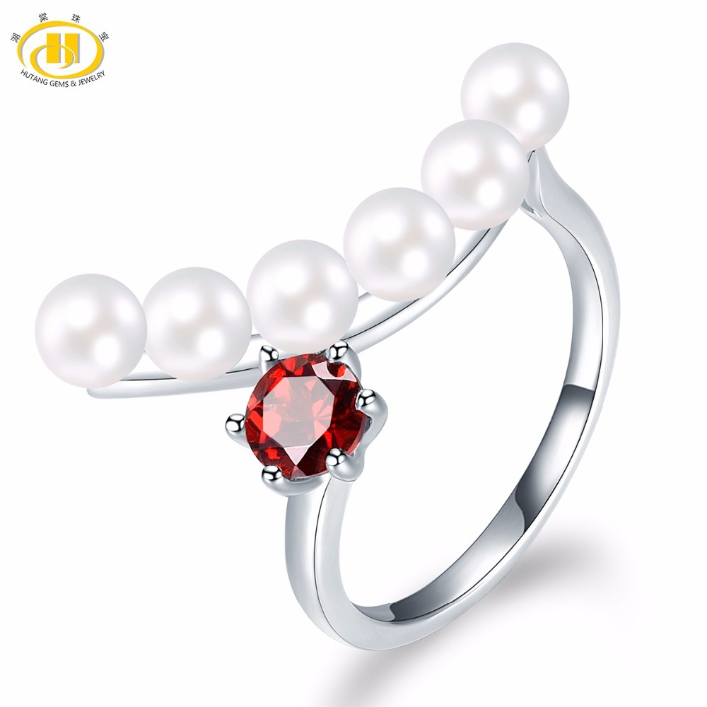 HUTANG Natural Fresh Water Pearl and Garnet Solid 925 Sterling Silver Ring Gemstone Fine Jewelry Womens Gift New Arrival