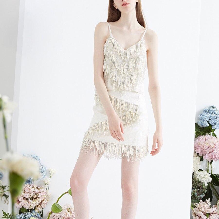 Femmes Luxe Nouvelle De sets Automne Marque Manteau coat Blanc automne Yd Perles Ensemble Mini Ensembles Pièce Mode 2 robe Bracelet ever Dress Motif Et wqYAXxY0