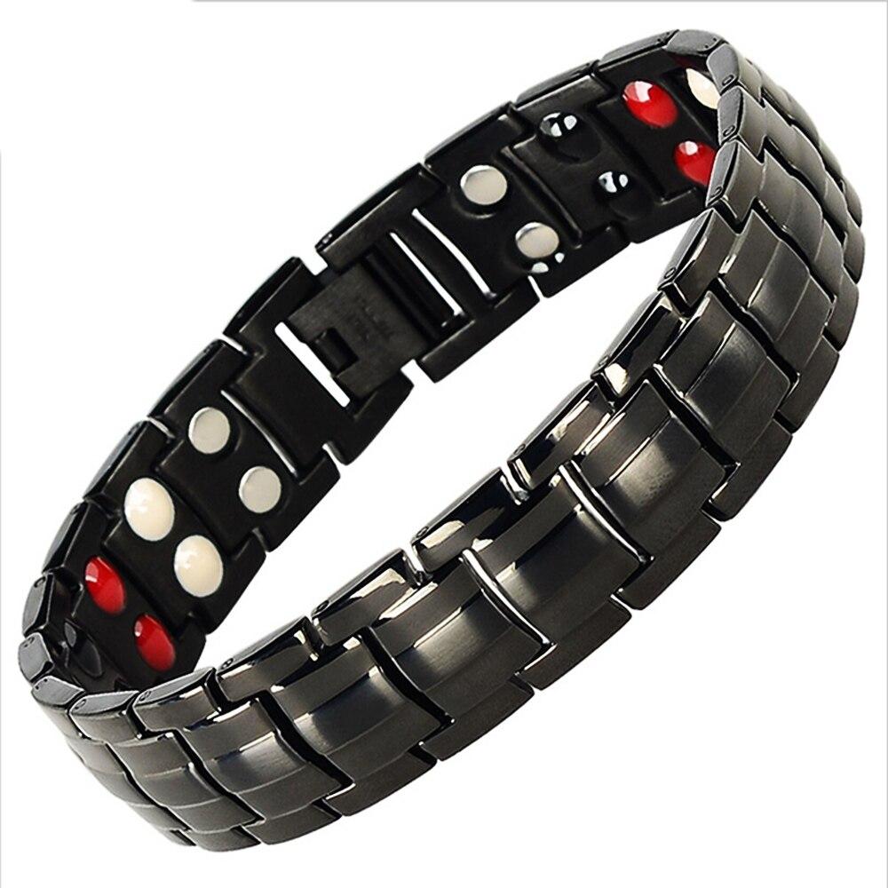 ee9b73b673b1 Mesinya doble fila hombres pulseras salud magnética 4 en 1 pulsera titanio  acero pulsera