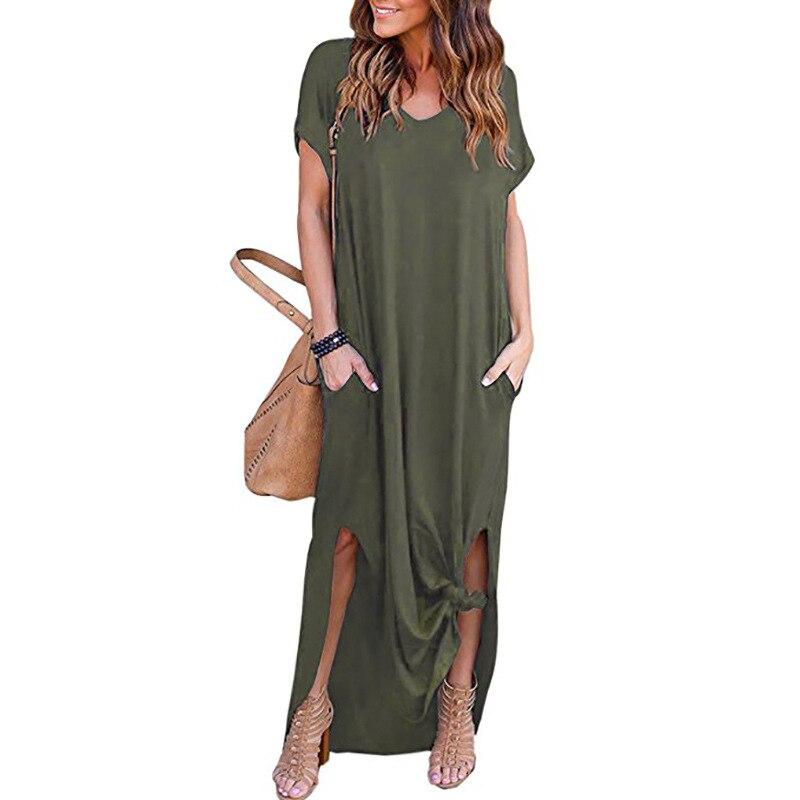 2018 Summer Women Short Sleeve V Neck Casual Slit Hem Solid Party Beach Maxi Long Dress Brief Black Vestido Plus Size