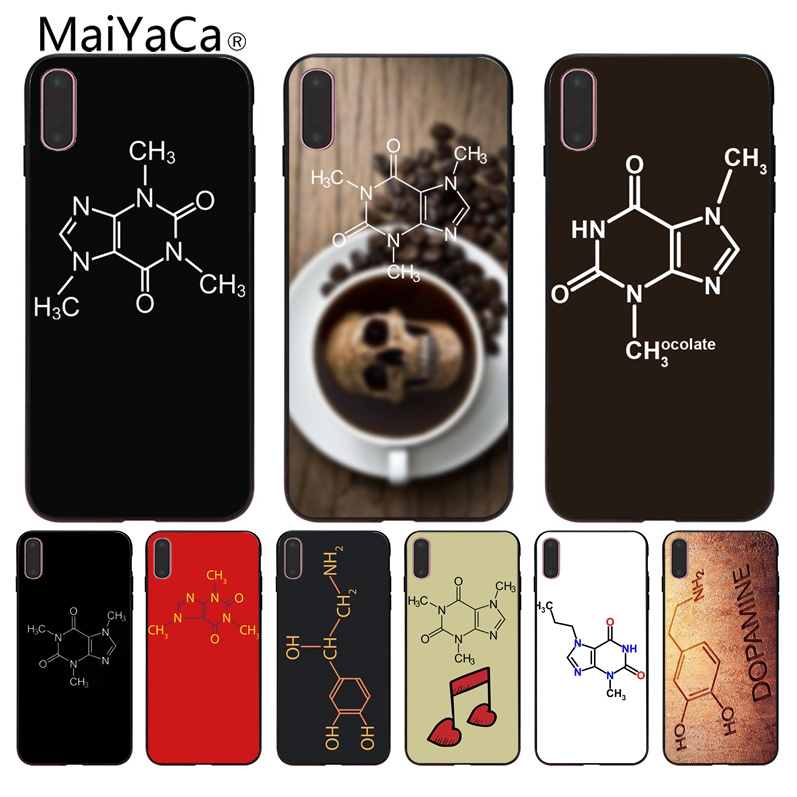 MaiYaCa Caffeine Symbol Smart cover Black soft shell For iphone X 8 8plus Black Case cover And 7 7plus 6 6s