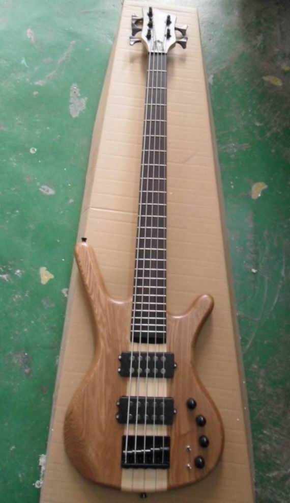 wholesale cnbald 5 string electric bass guitar through neck in natural 5strings electric bass. Black Bedroom Furniture Sets. Home Design Ideas