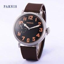 Мода 46 мм Parnis Черный Циферблат Orange Номера Ручным Подзаводом мужские Наручные Часы Коричневый Резиновый диапазон Вахты