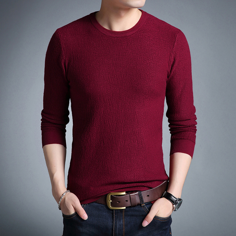 New Arrive O Neck Long Sleeve All Match Fashion Sweater Man Casual Wear Beige Red Pullover Man Slim Men's Pullover Sweaters Male