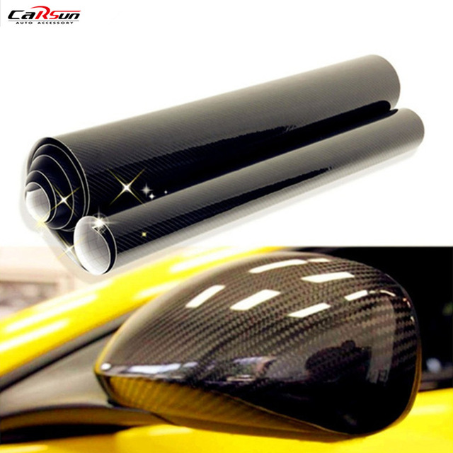 CARSUN High quality Ultra Gloss 5D Carbon Fiber Vinyl Wrap Texture High Glossy Car Stickers 5D Carbon Film Size: 10/20/30/x50cm