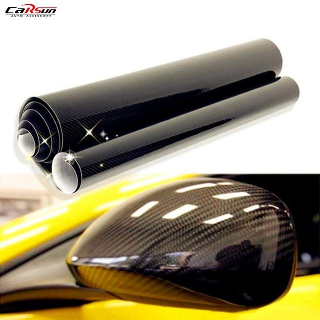 CARSUNคุณภาพสูงUltra Gloss 5Dคาร์บอนไฟเบอร์ไวนิลห่อเนื้อGlossyรถสติกเกอร์5Dฟิล์มคาร์บอนขนาด: 10/20/30/X50cm