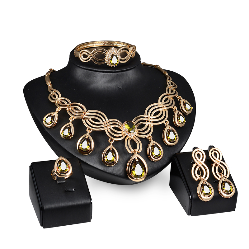 Necklace Earrings Bangles Jewelry-Sets Zircon Crystal African-Beads Water And Women