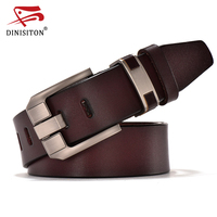 DINISITON Vintage Belts Genuine Leather For Men Good Quality Cowhide Male Pin Buckle Big Size Strap