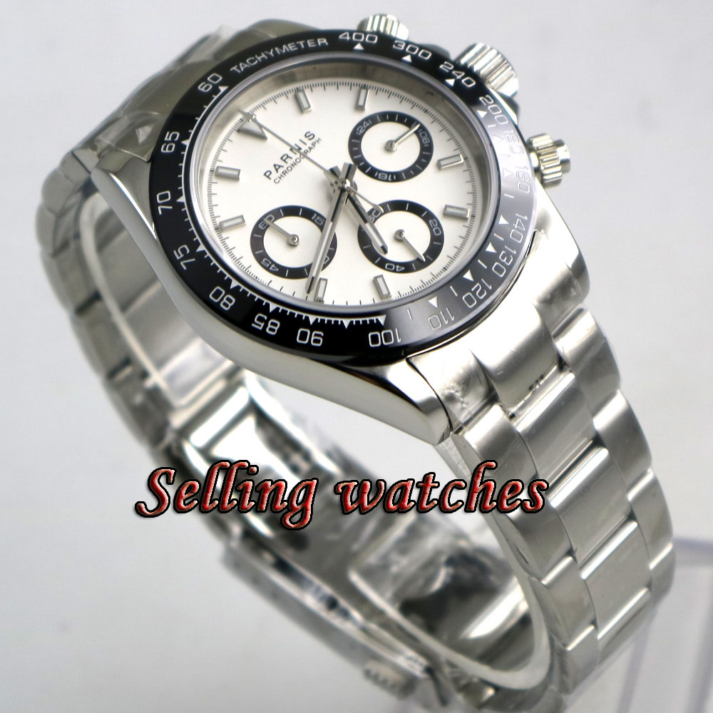 Solide 39mm PARNIS Quartz hommes montre Plein Chronographe cadran blanc lumineux verre saphir noir lunette chronomètre hommes