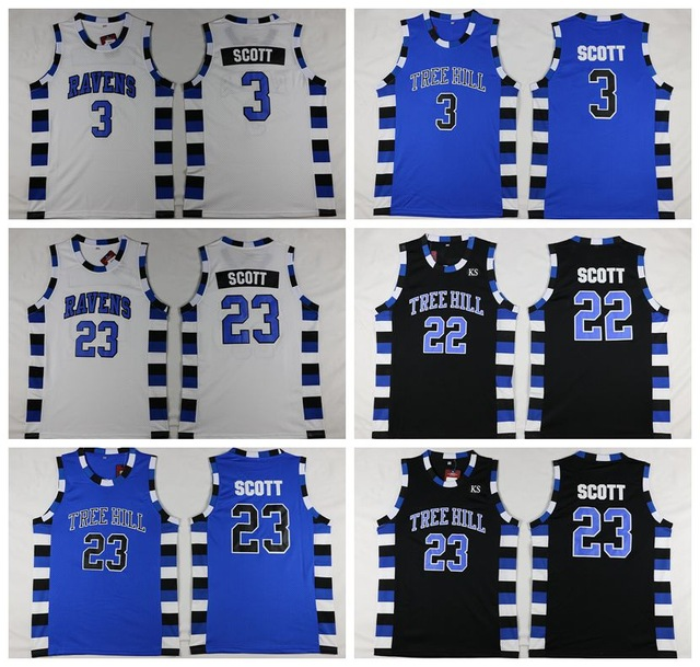 One Tree Hill Ravens  23 Nathan Scott  3 Lucas Scott Basketball Jerseys  White blue 606227af5