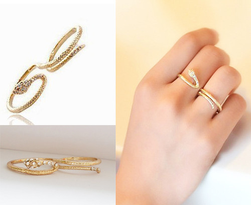 10 Pieces Pack Trendy Thin Band Snake Knuckle Ring Double Rings