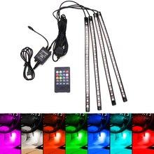 4XDC12V 12 светодио дный фонари USB беспроводной музыка управление 8 цветов RGB салона автомобиля