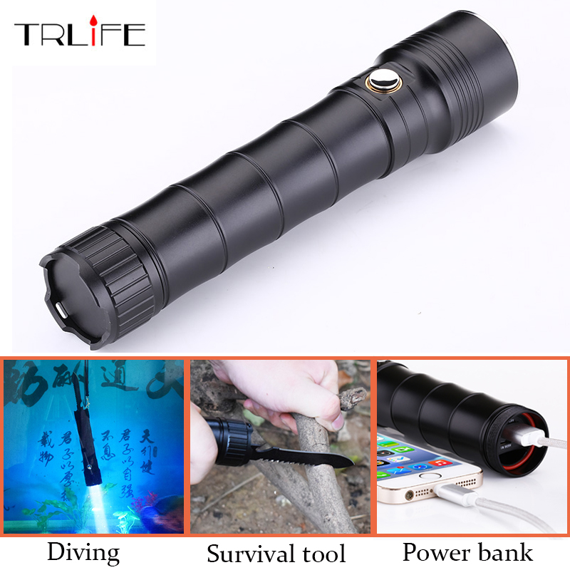 Multi-functional CREE XM L2 LED Flashlight 100m Diving Flashlight Torch Tactical with Knife Self Defense for Outdoor Activtites 3800 lumens cree xm l t6 5 modes led tactical flashlight torch waterproof lamp torch hunting flash light lantern for camping z93