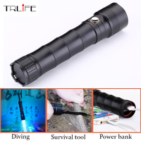 Multi Functional CREE XM L2 LED Flashlight 100m Diving Flashlight Torch Tactical With Knife Self Defense