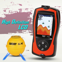 Lucky FF1108-1CWLA Portable Fishing Sonar Sensor 45M Water Depth High Definition LCD Screen Echo Sounder Fishfinder C0