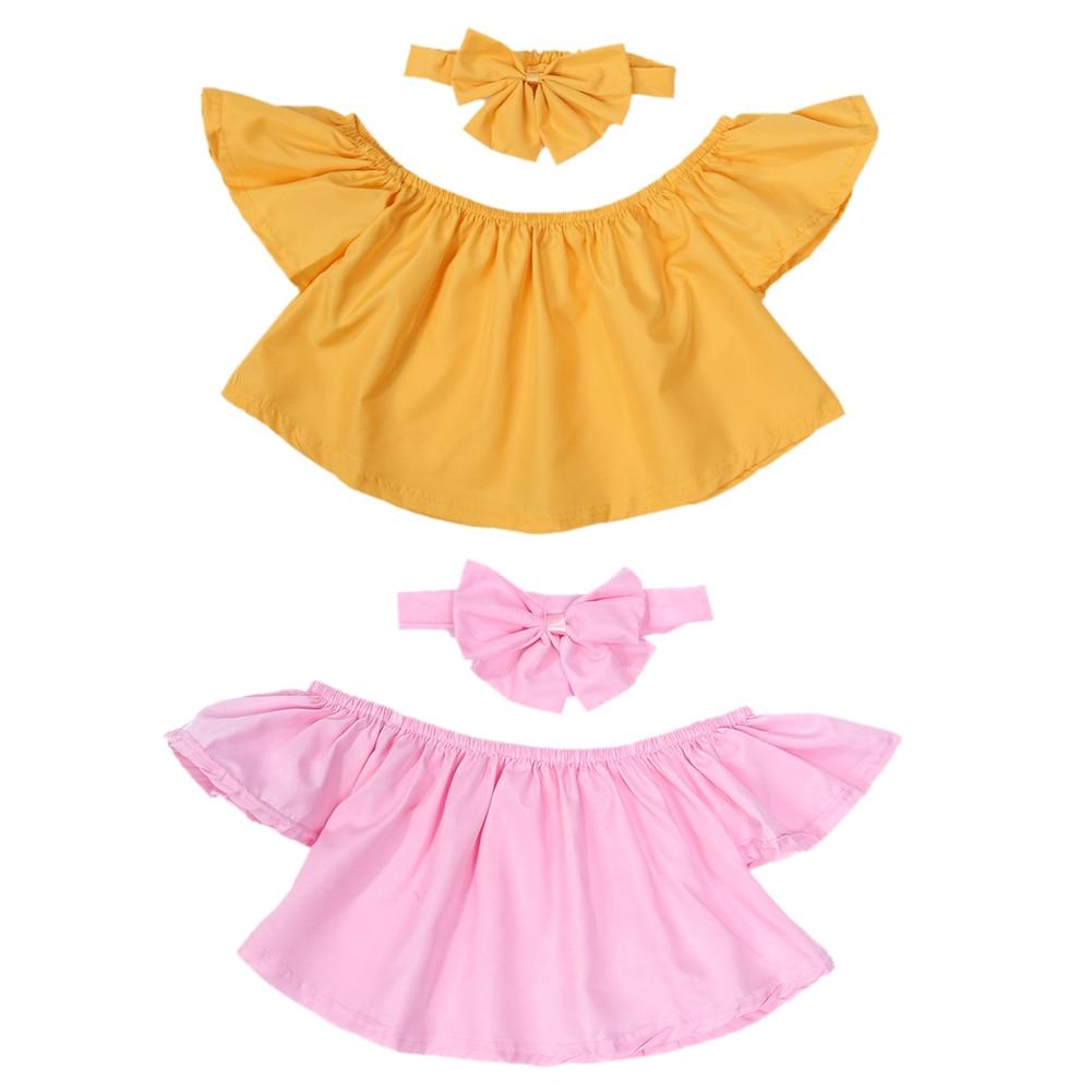 2 Teile/satz Sommer Kleinkind Kinder Baby Outfits Kleidung T-shirt Schulterfrei T-shirts + Bowknot Stirnband Husten Heilen Und Auswurf Erleichtern Und Heiserkeit Lindern