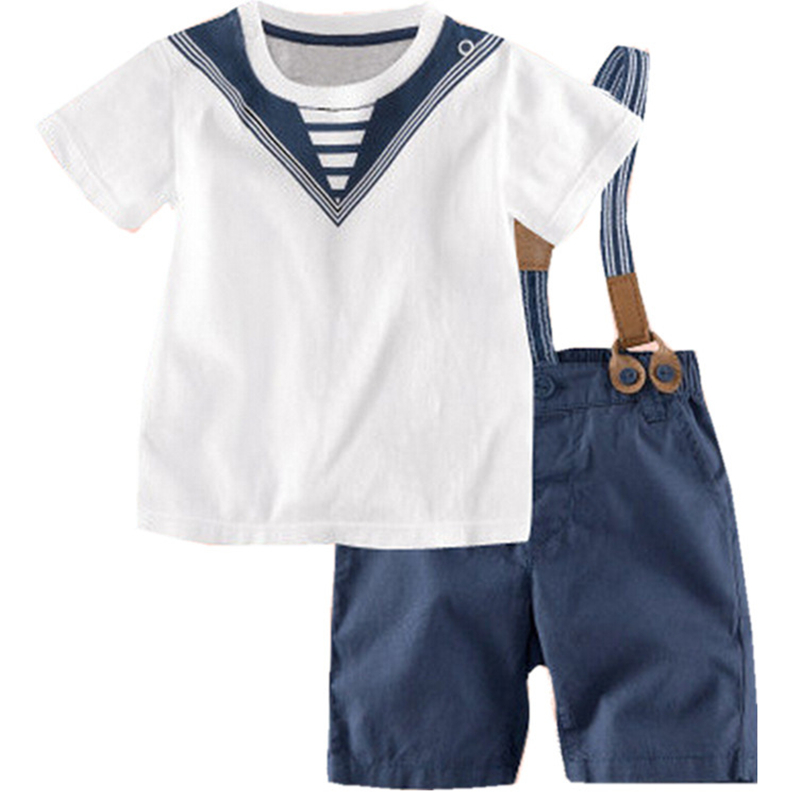 Summer Boys Clothing Set Infant Party Gentlemen Boy Clothes Toddler T-shirt+Belt pants 2pcs Children Suit 2017 Kids Outfits