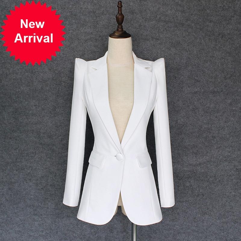 Super Haussement Qualité Long Casaco Costume Mince Feminino Bouton Femme Blanc Manteau Un Piste Lâche Femelle 2018 Ol YfwrYUq