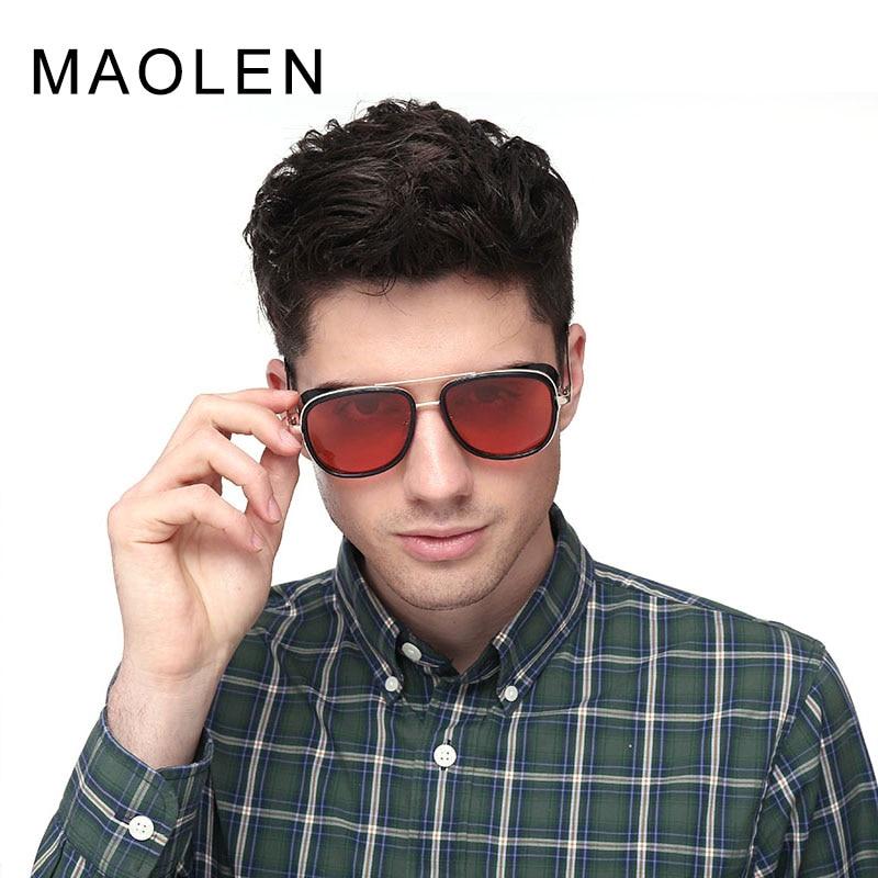 più amato ed5bc 034d7 MAOLEN Tony Stark Iron Man Sunglasses Men Luxury Brand Eyewear Mirror Punk  Sun Glasses Vintage Male Sunglasses Steampunk