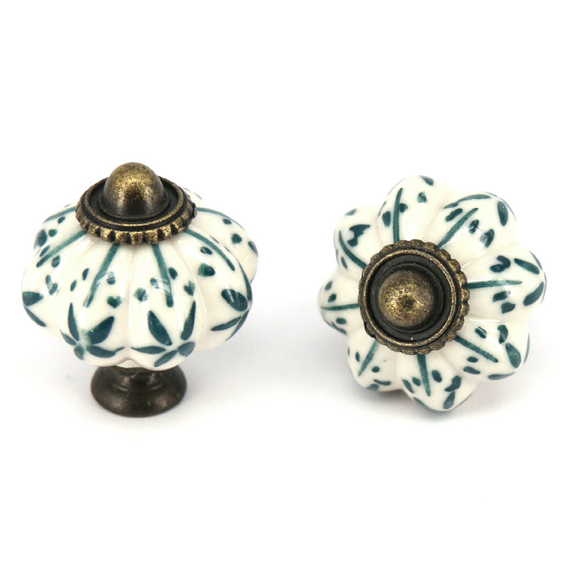 Hand painted Furniture Knobs Ceramic Drawer Cabinet Pulls Closet Cupboard door Handle antique pumpkin Handle