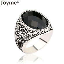 Antique Carved Flower Wedding Male Rings For Men Jewelry Love Big Black Resin Steampunk Tibet Silver Mens Ring Bijoux