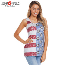 SEBOWEL Casual Trendy Flag Print Tank Top Summer Woman Stripes Pattern Patchwork Vest for Female Festival Tank Tops Lady Clothes cartoon pattern check tank top