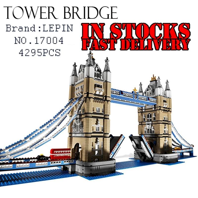 4295PCS LEPIN 17004 Tower Bridge Modular Street Classic Building Bricks Blocks Toys For Children Compatible 10214 in stock free shipping new lepin 17004 4295pcs london bridge model building kits brick toys compatible 10214