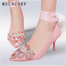 Size 34-45 New Women Pumps Crystal High Heels Shoes Fashion Pointed Toe Wedding Elegant Rhinestone Ankle Silk Satin Single Shoes цены