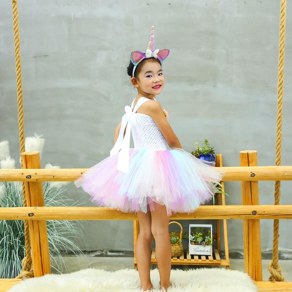 Cute Girl Unicorn Tutu Dress for Little Kid Flower Pony Birthday Party Knee Length Dress Outfit Pastel Unicorn Halloween Costume (9)