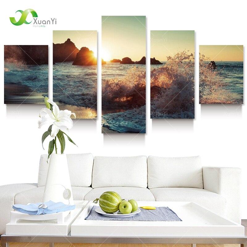 5 Panel Kətan Dəniz Dalğaları Rəsm Şəkilləri Rooom - Ev dekoru - Fotoqrafiya 2
