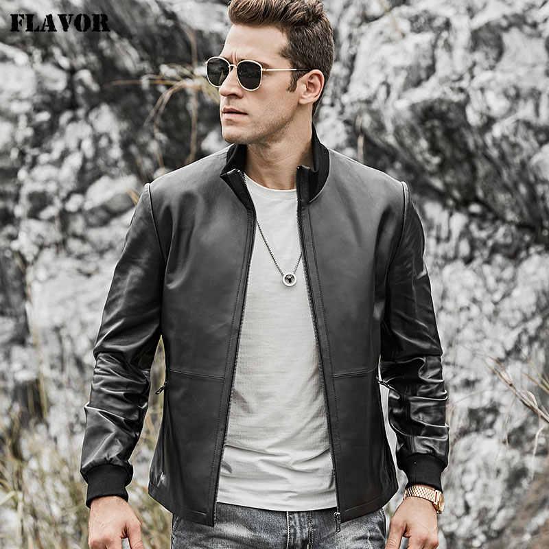 風味男性の本物の革のジャケット男性ラムスキンオートバイの革のジャケット立襟リブ袖口のコート