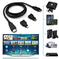 NEW 3 In 1 V1.4 HDMI TO HDMI Mini HDMI Micro HDMI Cable Gold-plating Adapter Converter For Xbox360 For PS3 HDTV 1080P Mobile