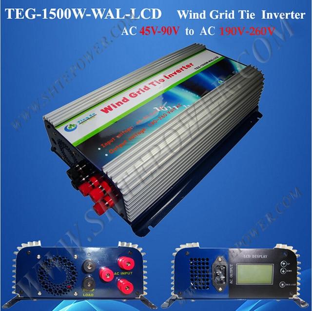1.5kw grid tie inverter wind 45-90v ac to ac 220v 230v 240v with lcd and dump load