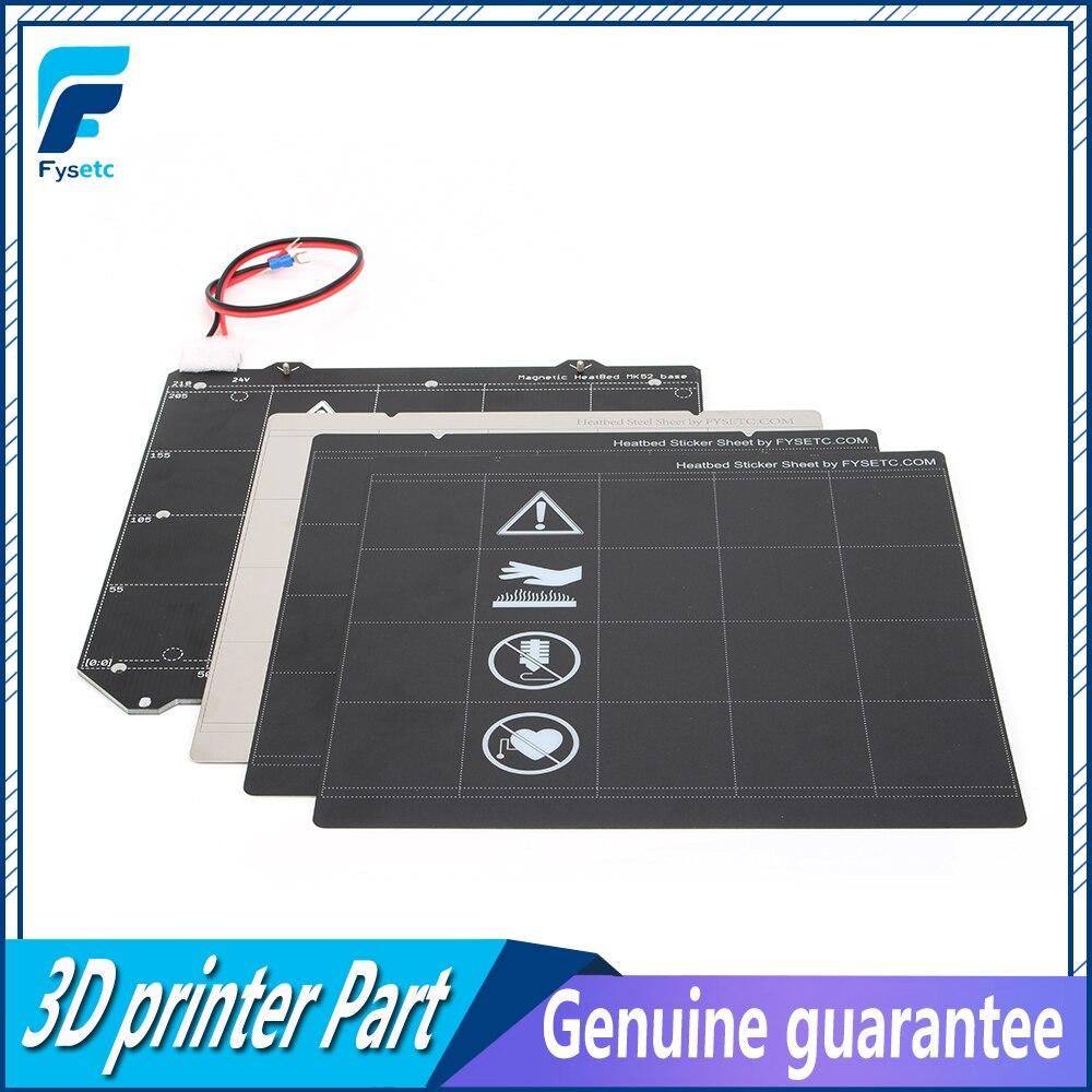 Clone Prusa i3 MK3 Magnetic Heated Bed 24v MK52 Wiring Thermistor Kit Steel Sheet 2pcs Black