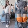 019A #2016 Pantalones De Maternidad De Invierno de Terciopelo Engrosadas Cachemira Cordón de Cintura Alta Pantalones de Embarazo para Las Mujeres Embarazadas