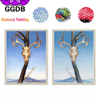 GGDB 5D Diy Diamond Painting Cross Stitch Ox Horn Animal Needlework Handmade Diamond Embroidery Full Square