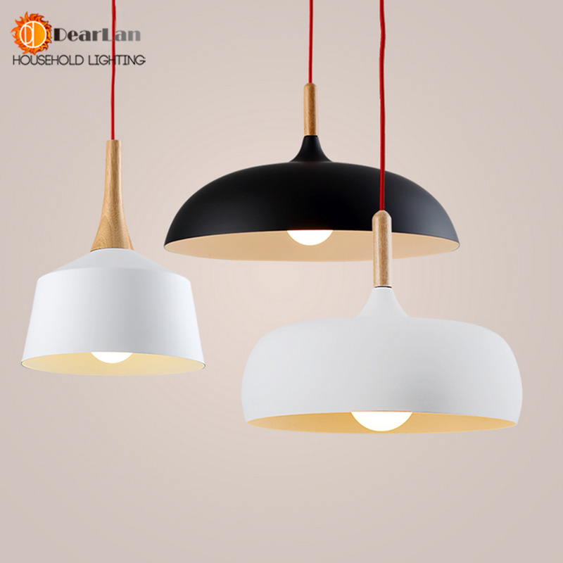 Modern Pendant Light Wood And Aluminum Lamp Black/ White Restaurant Bar Coffee Dining Room LED Wood Light Free Shipping